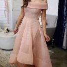 High Low Pink Off the shoulder Homecoming Dress