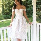 High Low White Lace Off the shoulder Homecoming Dress Bridesmaid Dress