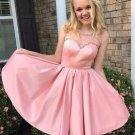 A-line Beading Cute Pink Homecoming Dress