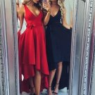 Red/Black Sexy V Neck High Low Long Homecoming Dress with Sash