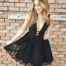 Sexy Black V-neck Lace Homecoming Dress