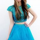 Blue Crystal Two Piece Homecoming Dress