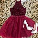 Cute Short Beading Homecoming Dress, Halter Red Prom Dress