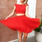 Hot Red Two Piece Homecoming Dress