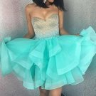 Chiffon Beadings Homehoming Dress, Mint Sweetheart Homehoming Dress