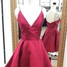 Backless Deep V Neck Homehoming Dress, Red Sexy Homehoming Dress