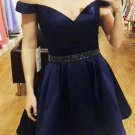 Off Shoulder Beadings Homehoming Dress, Navy Blue Homehoming Dress