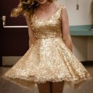 Golden Sequins Homecoming Dress, V Neck Homecoming Dress