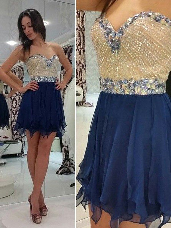 A-Line Sleeveless Sweetheart Beading Chiffon Mini Homecoming Dresses