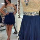 A-Line Sleeveless Sweetheart Beading Chiffon Mini Homecoming Dresses