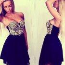 Sleeveless Sweetheart Beading Chiffon Short Homecoming Dresses