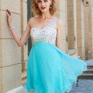 One-Shoulder Mint Beading Chiffon Short Homecoming Dresses