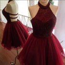 Burgundy Halter Homecoming Dress, Beading A Line Homecoming Dresses