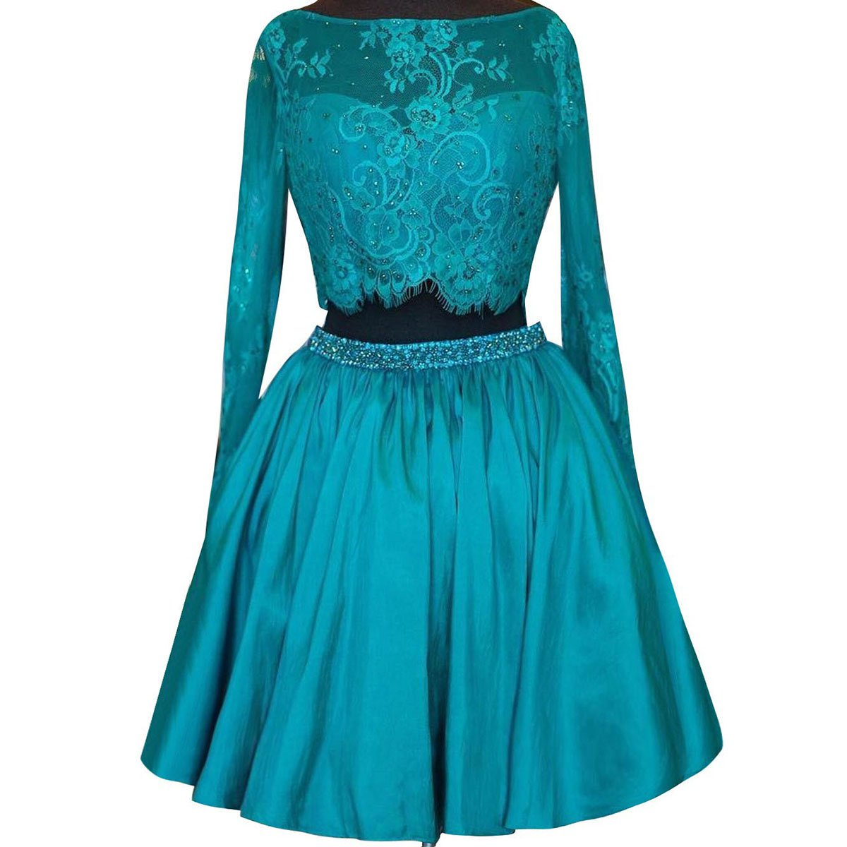 Two Piece Lace Homecoming Dress, Long Sleeve Homecoming Dress with Beaded Belt