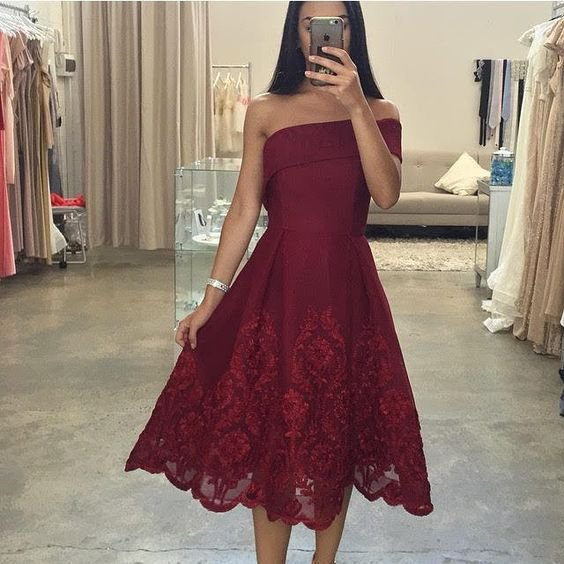 Lace Red Homecoming Homecoming Dress, Off the Shoulder Dress