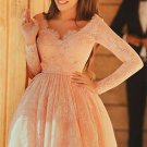 Pink Lace Homecoming Dress, Long Sleeve Homecoming Dresses