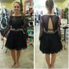 Long Sleeve Black Lace Homecoming Dress, Two Piece Homecoming Dresses