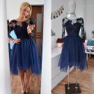Tulle Applique Homecoming Dress,Long Sleeve Homecoming Dresses 2017