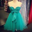Bowknot Mint Chiffon Crystal Sweetheart Homecoming Dress