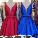 Red Deep V Neck Open Back A Line Short Homecoming Dress