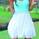 Sweetheart Mint Lace Mini Strapless Homecoming Dress