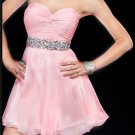 Sweetheart Pink Chiffon Short Crystal Cute Homecoming Dress