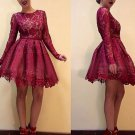 Lace Homecoming Dress, Burgundy Long Sleeve Cocktail Dress