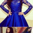 Lace Blue Homecoming Dress, Long Sleeve Homecoming Dress, Long Sleeve Cocktail Dress