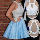 Halter Open Back Homecoming Dress, Sky Blue Two Pieces Homecoming Dress, Homecoming Gowns