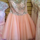 Baby Pink Crystal A Line Chiffon Short Cute Homecoming Dress