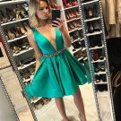 Green Deep V Neck A-Line Sexy Homecoming Dress with Beadings
