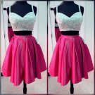 Pink Two Pieces Crystal Sequins V Neck Homecoming Dress, Sexy Short Homecoming Dresses