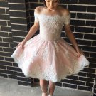 Baby Pink Scoop Neck Applique Chiffon Homecoming Dress