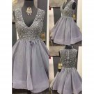 V-neck Gray Homecoming Dresses, Short Homecoming Dresses with Sparkly Beads