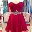 Chiffon Crystal Red Sweetheart Homecoming Dress 2017