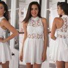 Lace Chiffon Cute White Halter Homecoming Dress