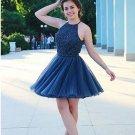 Crystal Chiffon Halter Royal Blue Homecoming Dress