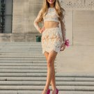 Applique Lace Long Sleeves White Two Pieces Short Homecoming Dress