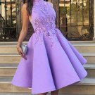 Applique A Line Sexy Purple High Neck Homecoming Dress