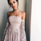 Long Sleeve Lace Short Sexy Baby Pink Homecoming Dress