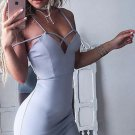 Close-Fitting Open Back Sexy Gray V Neck Homecoming Dress