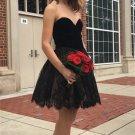 Chiffon Strapless A Line Black Sweetheart Homecoming Dress