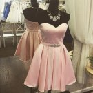 Sweetheart Beads Open Back Baby Pink Cute Homecoming Dress