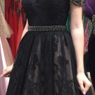 Beads Lace Sexy Short Black V Neck Homecoming Dress