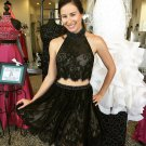 Homecoming Dress, Black Two Pieces Lace Halter Short Sexy Homecoming Dress