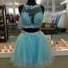 Sequins Chiffon Homecoming Dress,Blue Two Pieces Sexy Short Homecoming Dress