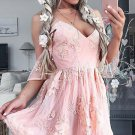 Applique Strapless Sweetheart Homecoming Dress, Baby Pink Short Sexy Homecoming Dress