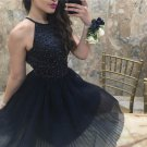 Chiffon Strapless Crystal  Homecoming Dress, Black Halter Homecoming Dress