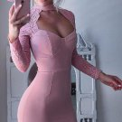 Close-Fitting Sweetheart Homecoming, Pink Halter Lace Long Sleeve Sweetheart Homecoming Dress