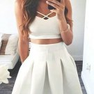 Strapless Simple Summer Homecoming Dress, White Two Pieces Homecoming Dress